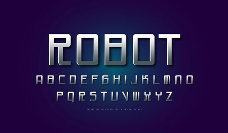Silver colored and metal chrome monospaced sans serif font in cyber style. Letters for sci-fi, cosmic and emblem design