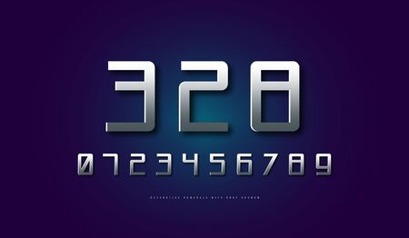 Silver colored and metal chrome mono spaced sans serif numerals in cyber style. Letters for sci-fi, cosmic  and emblem design