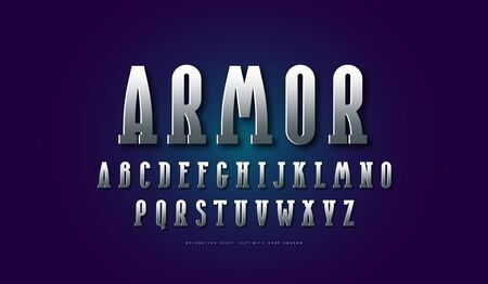 silver colored and metal chrome narrow serif font. Letters and emblem design
