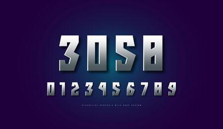 silver colored and metal chrome numerals. and emblem design Illusztráció