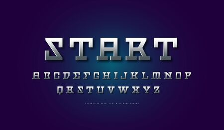 Silver colored and metal chrome serif font. Letters for sci-fi, movie, cyber and space design