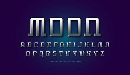 Silver colored and metal chrome serif font in space style. Letters for sci-fi, cosmic and emblem design