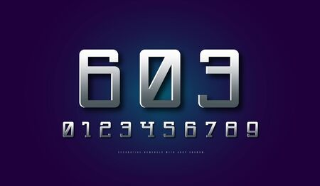 Silver colored and metal chrome serif numerals in space style. Letters for sci-fi, cosmic and emblem design Illusztráció