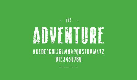 Decorative narrow sans serif font. Bold face. Letters and numbers with rough texture for logo and emblem design. White print on green background Illusztráció