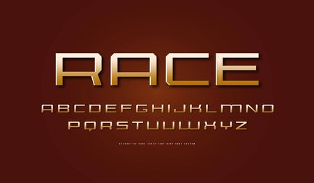 Golden colored expanded sans serif font. Letters for sci-fi, military, racing logo and emblem design