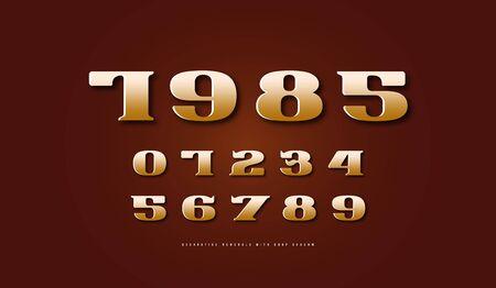 Golden colored serif numerals in retro style Illustration