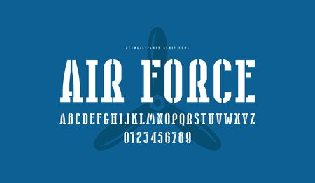 Stencil-plate narrow serif font. Bold face. Letters and numbers for logo and emblem design