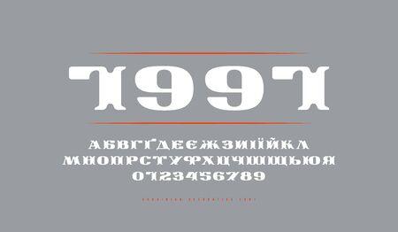 Carattere serif esteso ucraino decorativo in stile retrò. Lettere e numeri e design dell'etichetta Vettoriali