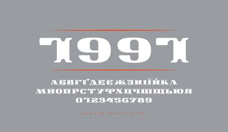 Decorative Ukrainian extended serif font in retro style. Letters and numbers and label design