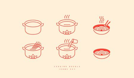 Icons set for soba noodle packaging. Elements in thin line style for cooking instructions