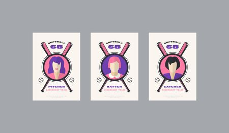 Set of softball card design in retro style. Player cards for pitcher, batter and catcher