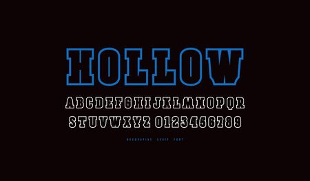 Decorative hollow slab serif font. Letters and numbers for logo and t-shirt design. Color print on black background