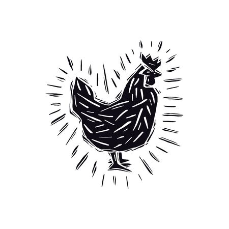 Chicken illustration in linocut style. Isolated on white background