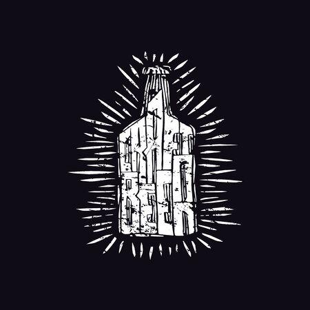 Craft beer bottle illustration in linocut style. White print on black background
