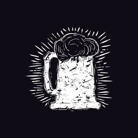 Craft beer mug illustration in linocut style. White print on black background Vector Illustration