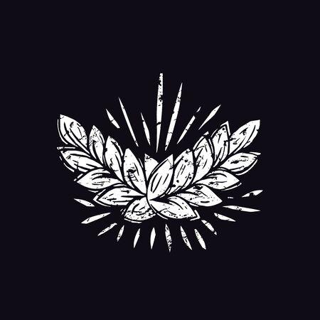 Ear wheat illustration in linocut style. White print on black background Vector Illustration