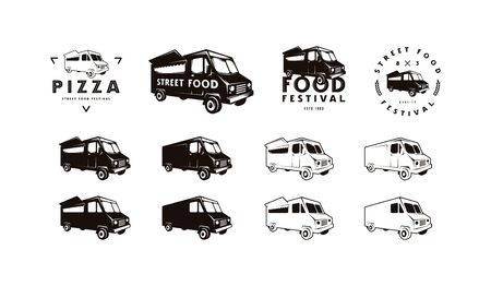 Food truck delivery silhouettes for street food shop. Isolated on white background