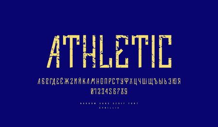 Cyrillic narrow sans serif font in sport style. Letters and numbers with rough texture for design