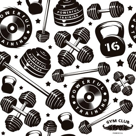 Seamless pattern for gym club. Design for your textiles, backgrounds, wrapping paper. Black print on white background