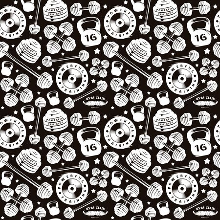 Seamless pattern for gym club. Design for your textiles, backgrounds, wrapping paper. White print on black background