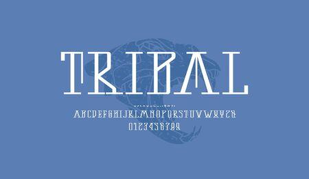 Decorative serif font.
