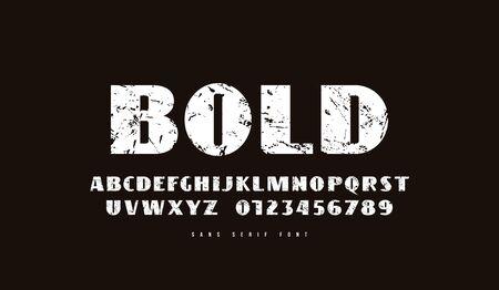 Sans serif font in retro style. Bold face. White print on black background