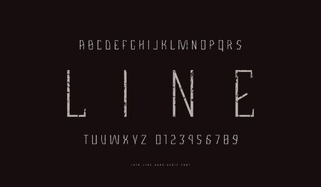 Geometric sans serif font in thin line style. Letters and numbers with rough texture for sport emblem design