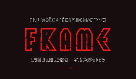 Hollow geometric sans serif font in viking style. Cyrillic letters and numbers with rough texture for  emblem design