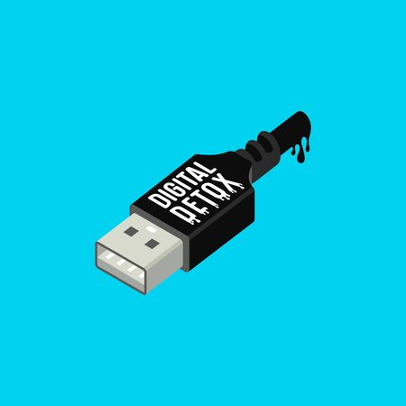 Digital detox poster. Usb connector in isometric style