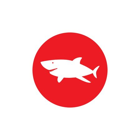 Shark dangerous emblem. No swimming sign. White  silhouette on red circle
