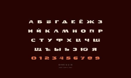 Cyrillic extended sans serif font. Bold face with rough texture