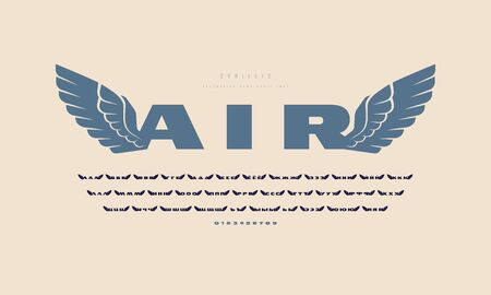 Cyrillic initial extended sans serif font with wings silhouettes. For military and sport logo, emblem and t-shirt design 일러스트