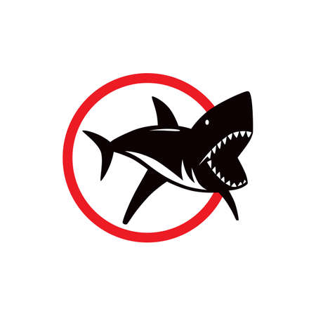 Shark dangerous emblem. Color print on white background  イラスト・ベクター素材