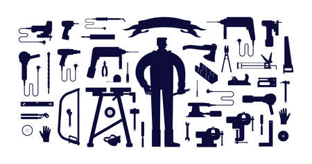 Stock vector illustration of workshop tool kit and worker. Black silhouettes on a white background