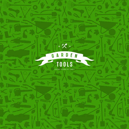 Seamless pattern and emblem for garden tools store. White label on green background
