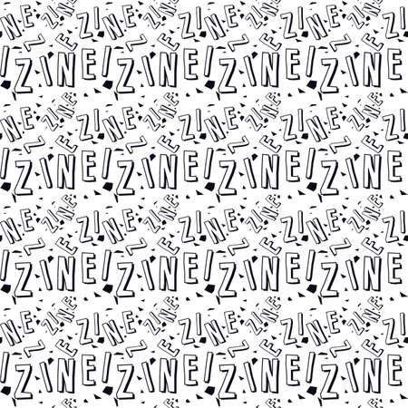 Zine culture seamless pattern. Black print on white background  イラスト・ベクター素材