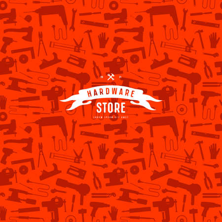 Seamless pattern and emblem for hardware store Vectores