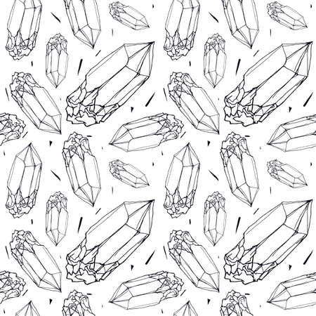 Seamless pattern with the image of a crystal of mineral. Thin line graphic style. Black and white print