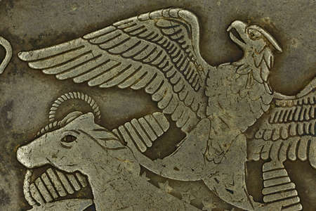 Close-up of eagle and mustang on American silver old coin