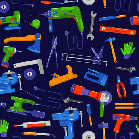 Seamless pattern for hardware store. Design in flat style. Isolated on black background Иллюстрация