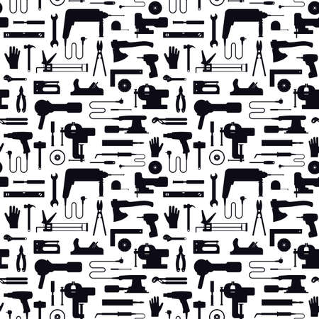 Seamless pattern for workshop. Black silhouettes on a white background