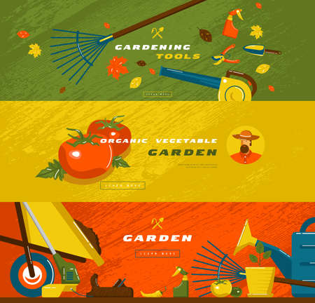 Stock vector illustration of gardening hobby banner set with tools and vegetables. Design in flat style for web banner, flyer and other Illustration