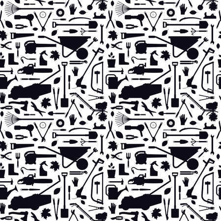 Seamless pattern with garden tools. Black silhouettes on a white background