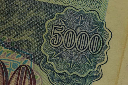 Close-up of the Russian Federation retro banknote. Fragment of 5000 rubles 1992 写真素材