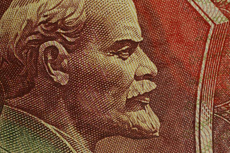 Close-up of the Russian banknotes. Portrait of Vladimir Lenin on a 1992 banknote of 500 rubles 写真素材