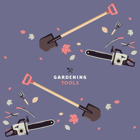 Seamless pattern and label for garden tools store. Design in flat style