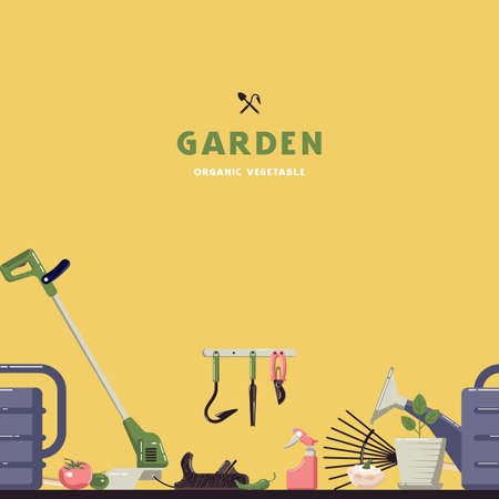 Seamless pattern and label for organic vegetable garden. Design in flat style. Color print on yellow background  イラスト・ベクター素材