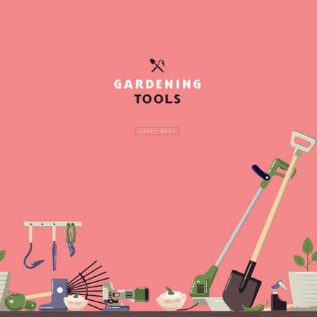 Seamless pattern and label for garden tools store. Design in flat style. Color print on a pink background