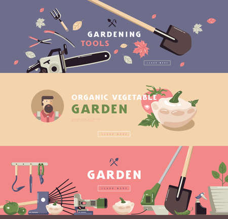 Stock vector illustration of gardening hobby banner set with tools and vegetables. Design in flat style for web banner, flyer and other  イラスト・ベクター素材