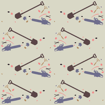 Seamless pattern for garden tools store. Color silhouettes on a gray background  イラスト・ベクター素材